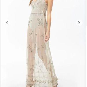 Sheer Beaded Crisscross Maxi Dress